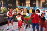 dated 1995 shows students performing a play outside