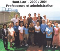 a staff group photo on the roof of the old primary school dated 2000/2001