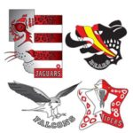 the logos for the four houses clockwise: jaguars, bears, falcons, vipers