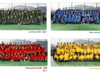 dated 2008-2009, students from the four houses pose as a team